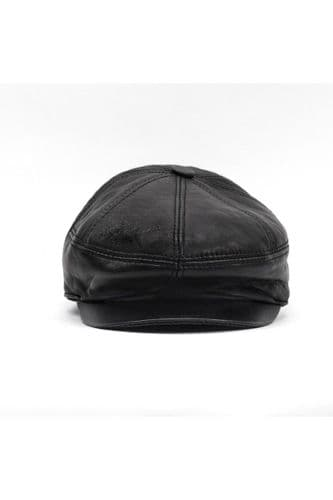 Leather Flat Caps Black
